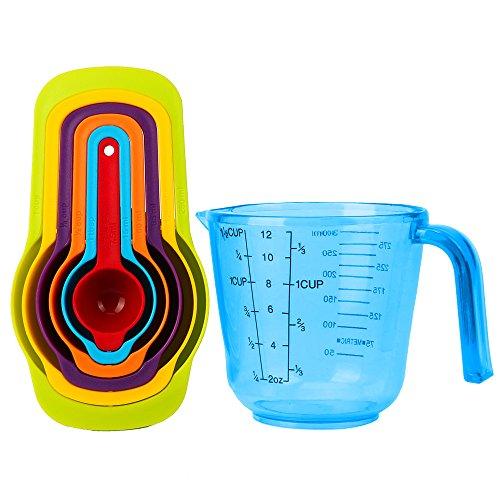 Mcirco Versatile Measuring Set,6 Pieces Colorful Plastic Measuring Spoons Add 1.5-cup Plastic Measuring Cup