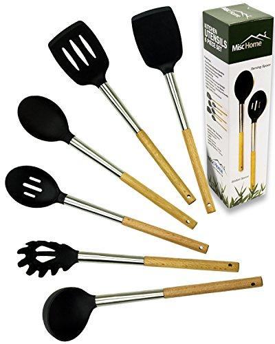Gourmet 6 Pcs Eco-Friendly Bamboo Stainless Steel Silicone Kitchen Utensil Set Premium Non-Stick Silicone Cooking Tool Set Black