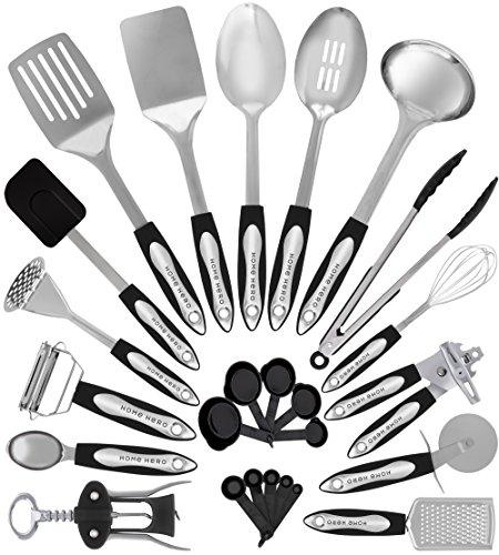 Stainless Steel Kitchen Utensil Set - 25 Cooking Utensils - Nonstick Kitchen Utensils Cookware Set with Spatula - Best Kitchen Gadgets Kitchen Tool Set Gift by HomeHero