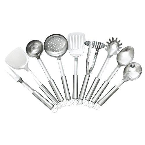 TAFOND 9 Piece Stainless Steel Kitchen Utensils Sets-SpatulaSoup LadleSpoonSlotted SpatulaSkimmerRice SpoonSpaghetti SpoonMeat ForkPotato Masher