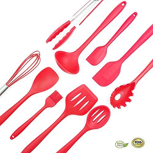 Bellagione Silicone Kitchen Utensil Set of 10 Cooking Item Non-Stick and Anti-Bacteria BPA-free and heat resistant For Cooking Baking and Grill Red
