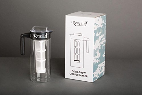 Reveille Cold Brew Coffee Maker - 1300ml 5Cups Premium Borosilicate Glass Container with Easy to Use Filtration System and Unique Lid Design to Keep Cold Brew Coffee Fresh