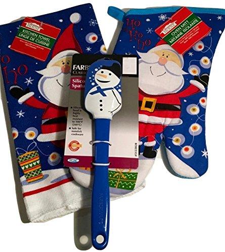 Snowman Spatula blue silicone Blue White Santa Claus Kitchen Towel and Oven Mitt 3-pc