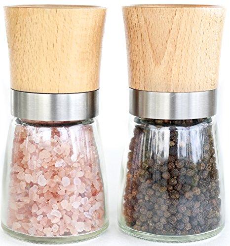 Willow Everett Salt and Pepper Shakers - Wood Salt and Pepper Grinder Set with Adjustable Coarseness - Salt and Pepper Mill Pair - Spice Grinder