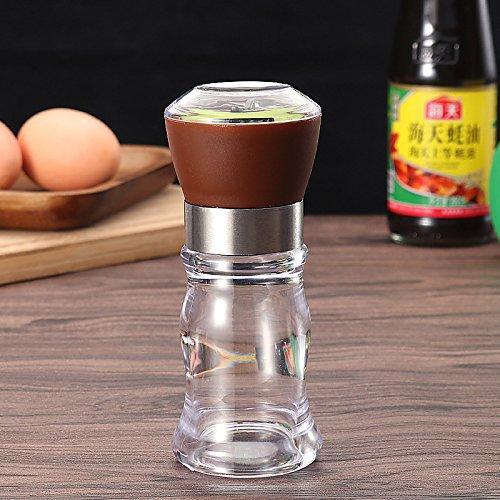 1pcs Salt Pepper Mills Grinder Shaker Spice Salt Container Condiment Jar Holder Accurately Adjustable Kitchen ToolsBrown