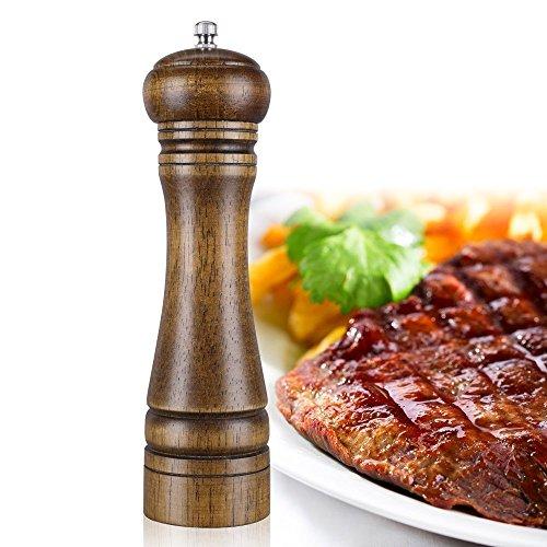 Pepper Grinder with Adjustable CoarsenessDAWILS Oak Wooden Salt Mill or Pepper MillSalt and Pepper Shakers 8-inch