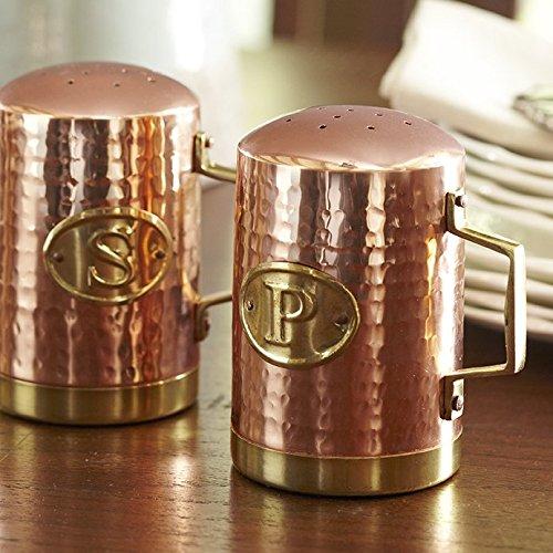 New Kitchen Countertop Hammered Copper Finish Stainless Steel Salt Pepper Shaker
