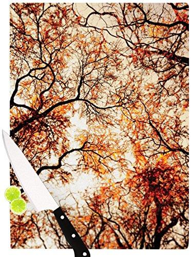 Kess InHouse Bree Madden Fire Trees Cutting Board 115 by 825-Inch Orange