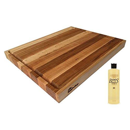 HomeProShops 1-12x15x19 Maple Wood Butcher Block Cutting Board w Juice Groove Channel 1 Side 1 16 oz Bottle John Boos Mystery Oil