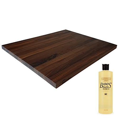HomeProShops Wood Butcher Block Cutting Board - 34 x 15 x 19 - w John Boos MYSB Mystery Oil 16 oz Bottle Included - Solid Walnut Reversible