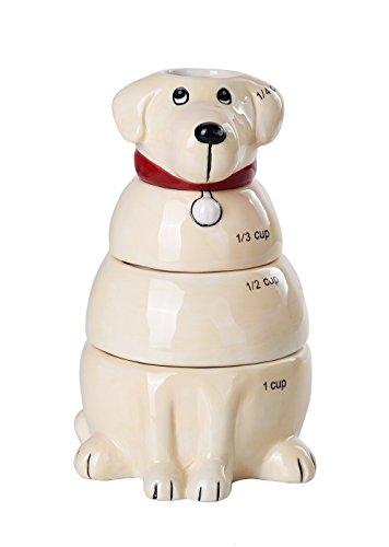 Lovable Labrador Retriever Ceramic Nesting Measuring Cup Set of 4 Creative Functional Kitchen Decor