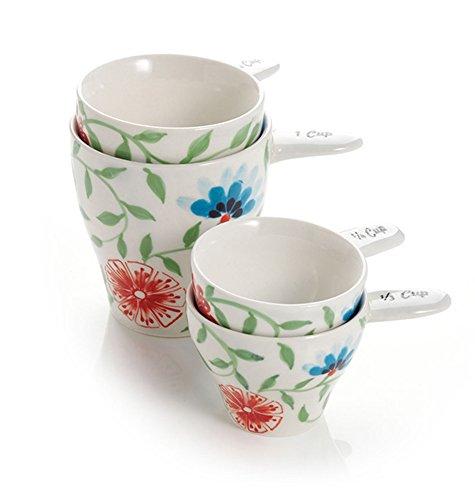 Pretty Painted Ceramic Measuring Cups - Fair Trade