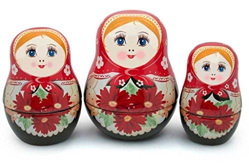 UNAMOI Matryoshka ceramic Measuring Cups Daisy Set of 6 Small Red Floral