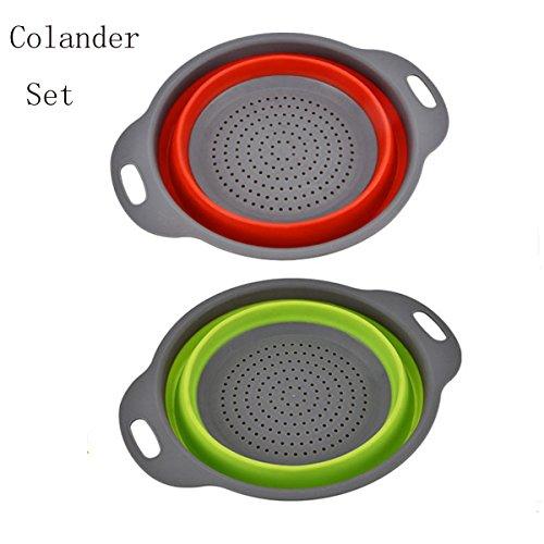Colander Set -2  Food-Grade Silicone kitchen Strainer Space-Saver Folding Strainer Colander Tool Foldable Red Green