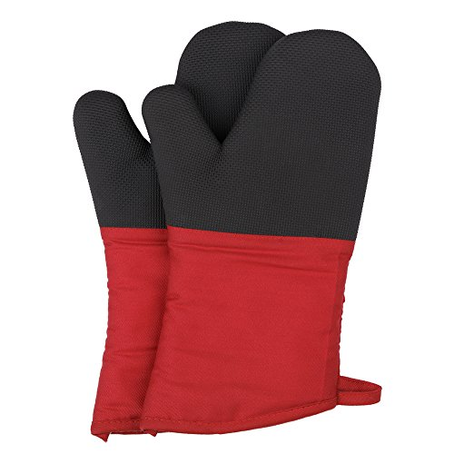 Magician Heat Resistant Oven Mitts - Non-Slip Grip Pot holders for Kitchen Cooking Baking Up to 450˚F Heat Resistant Heavy Duty Oven Gloves - 1 Pair Red