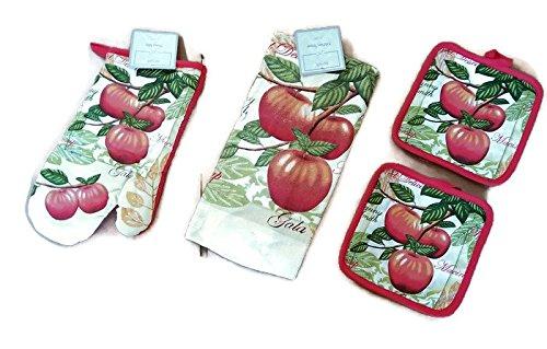 Apples Design Kitchen Linen Bundle Oven Mitts 1 Towels 1 Pot Holders 2