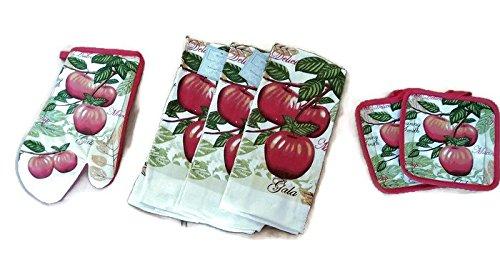 Apples Design Kitchen Linen Bundle Oven Mitts 1 Towels 3 Pot Holders 2