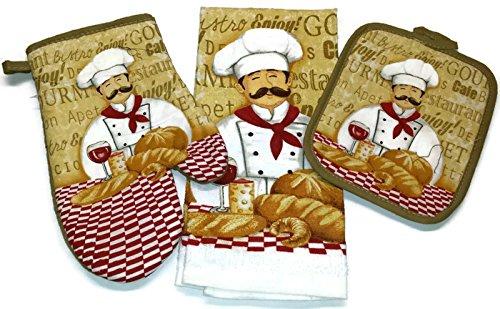 Happy Chef Linen 3 Piece Bundle Package Oven Mitt 1 Pot Holder 1 Kitchen Towel 1 4323