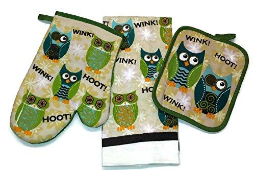 Happy Owels Linen 3 Piece Bundle Package Oven Mitt 1 Pot Holder 1 Kitchen Towels 1 4323