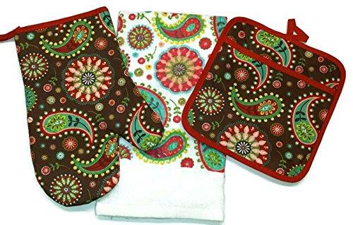 Paisley Kitchen Design Linen 3 Piece Bundle Package Oven Mitt 1 Pot Holder 1 Kitchen Towels 1 4323