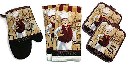 Paris Chef Design Linen 5 Piece Bundle Package Oven Mitt 1 Pot Holders 2 Kitchen Towels 2 4425C