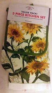 The Pecan Man Cotton Everyday Kitchen Set Pot Holder Oven Mitt TowelSet of 3 sunflower yellow