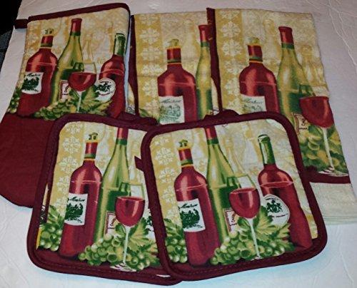 Wine Lovers Design Kitchen Set 5 Piece - 2 Potholders 1 Oven Mitt 2 Towels