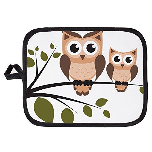 CafePress - Brown Owl Duo - Pot Holder Heat Resistant Fabric Trivet