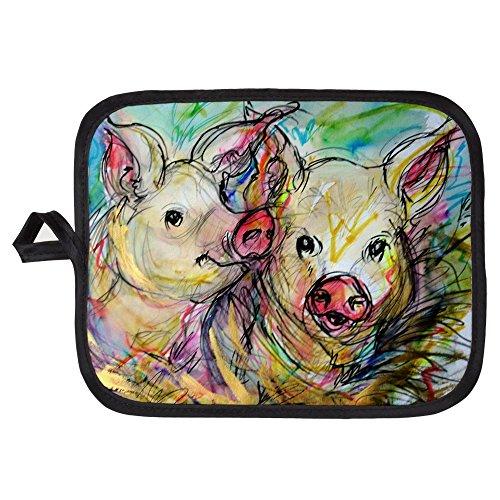 CafePress - Piglets Pig Pair - Pot Holder Heat Resistant Fabric Trivet