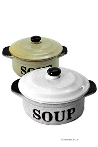 Set 2 Stoneware Vintage-Style 10oz French Onion Soup Crock Bowls with Lids
