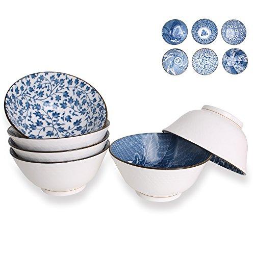 20-Ounce Porcelain Cereal Soup Salad Bowls Assorted Floral Patterns Deep Bowl Set of 6