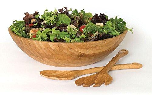 Lipper International 8204-7 7-Piece Bamboo Round Salad Bowl Set with Servers