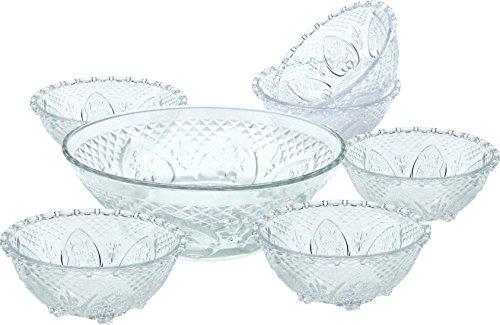 Salad Bowl Set 7 Pieces Glass One Large 9 Salad Bowl With Six Medium 5 Serving Bowls