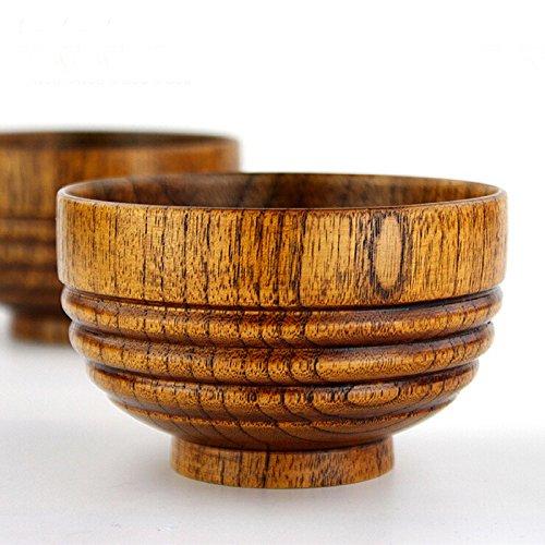 4Pcs Children Wood Soup Rice Bowl Handmade Wooden Salad Noodles Bowls Wood Tablewear