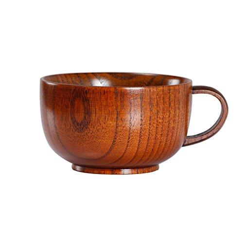 Geeklife Jujube Wood Coffee MugJapanese Wooden Soup Bowl Brown 300 ml