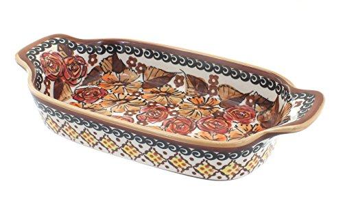 Polish Pottery Autumn Rose Rectangular Serving Dish