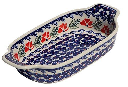 Polish Pottery Rectangular Serving Dish From Zaklady Ceramiczne Boleslawiec 1281-1115 Length 10 Width 525