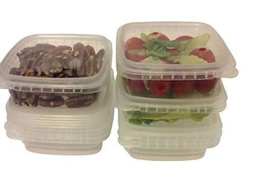 Clear Deli Food Storage Containers With Lids Tamper evident security system and easy stackable and space saver shape Restaurant Take Out Freezer microwave and dishwasher safe - 8 Oz - 25 sets