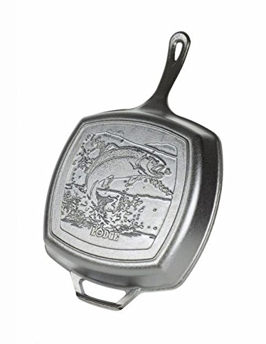 Lodge Wildlife Series - 105 Inch Square Seasoned Cast Iron Grill Pan with Fish Scene and Assist Handle