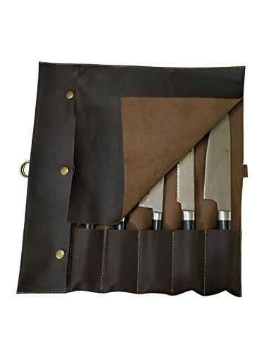 Lightweight Genuine Premium Dark Brown Leather Professional Chef Knives BagChef Knife Roll 5 Slots