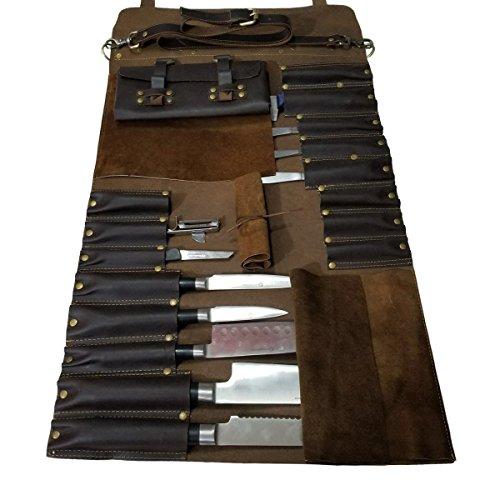 Lightweight Genuine Premium Leather 16 Slots Dark Brown Chef Knife BagChef Knife Roll