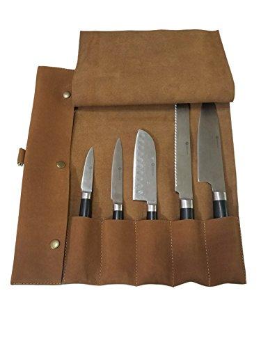 Lightweight Genuine Premium Vintage Tan Leather 5 Pockets Professional Chef Knives BagChef Knife Roll