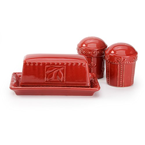 Sorrento Collection 3 pc Stoneware Salt Pepper Shaker Butter Dish Set Ruby Antiqued Finish