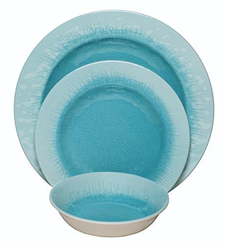 Melange 12-Piece 100 Melamine Dinnerware Set Crackle Collection   Shatter-Proof and Chip-Resistant Melamine Plates and Bowls  Color Aqua  Dinner Plate Salad Plate Soup Bowl 4 Each