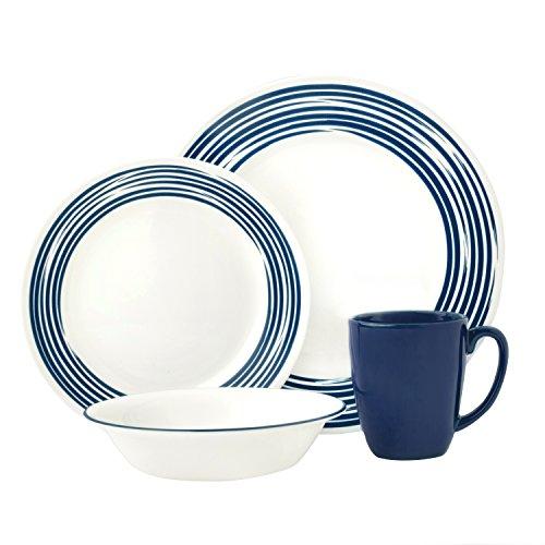 Corelle Boutique Brushed 16-Pc Dinnerware Set Cobalt Blue w 3 Bonus Clips