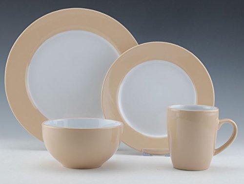 Uniware D350-16A 16 Piece Dinner Set 4 Big Plates4 Small Plates4 Cups4 Bowls Cream 14 x 10 x 9