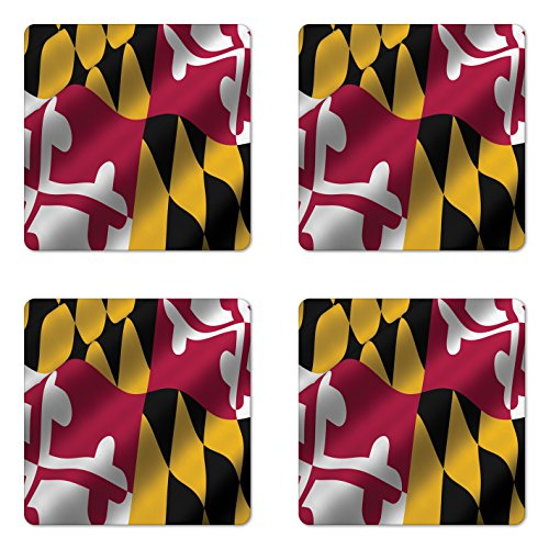 American Coaster Set of Four by Lunarable Flag of the US State of Maryland Closeup 3D Style Picture Waving America National Square Non-Slip Rubber Coasters for Drinks Multicolor