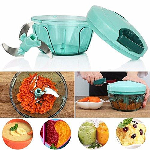 Kitchen 485 ml Manual Food ChopperMeat GrinderVegetable SlicerShredderGrinder Blue