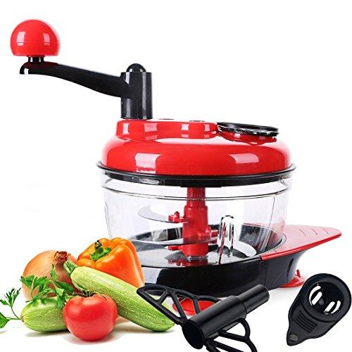 Manual Food Processor Chopper CAZ Multifunctional Vegetable Fruit Chopper Meat Grinder Blender to Chop Meat Fruits Vegetables Nuts Herbs Onions Garlics Chilis