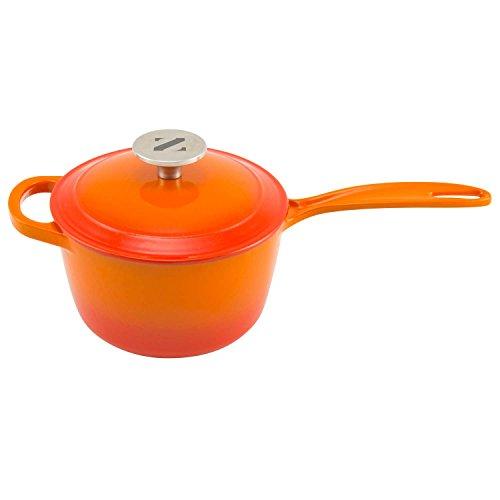 Zelancio 2 Quart Cast Iron Sauce Pan Covered Cast Iron Sauce Pot with Lid Perfect as a Bean Pot Spaghetti Sauce Pot Barbecue Sauce Pot or Pasta Sauce Pot Tangerine Orange